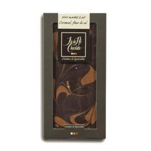 Chocolat Noir marbré lait caramel fleur de sel 100g
