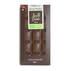 Tablette Chocolat Lait fourrée praliné BIO 100g