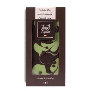 Tablette Noir marbrée menthe Fèves cacao 100g
